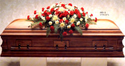 Flowers on casket