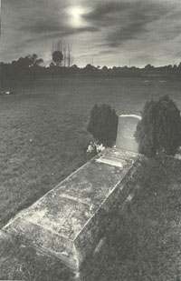 Grave at sunset