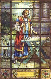 Hiram Abif stained glass